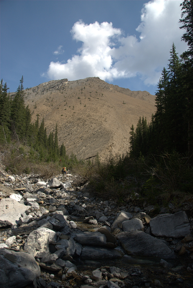 This is looking up the creek at the ascent slope. The creek splits into two around the orange shale slope up ahead.