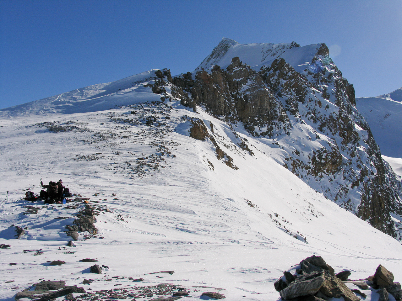 We ended up skirting the lower ridge on climber's left before cutting up very steep snow to the ridge proper.