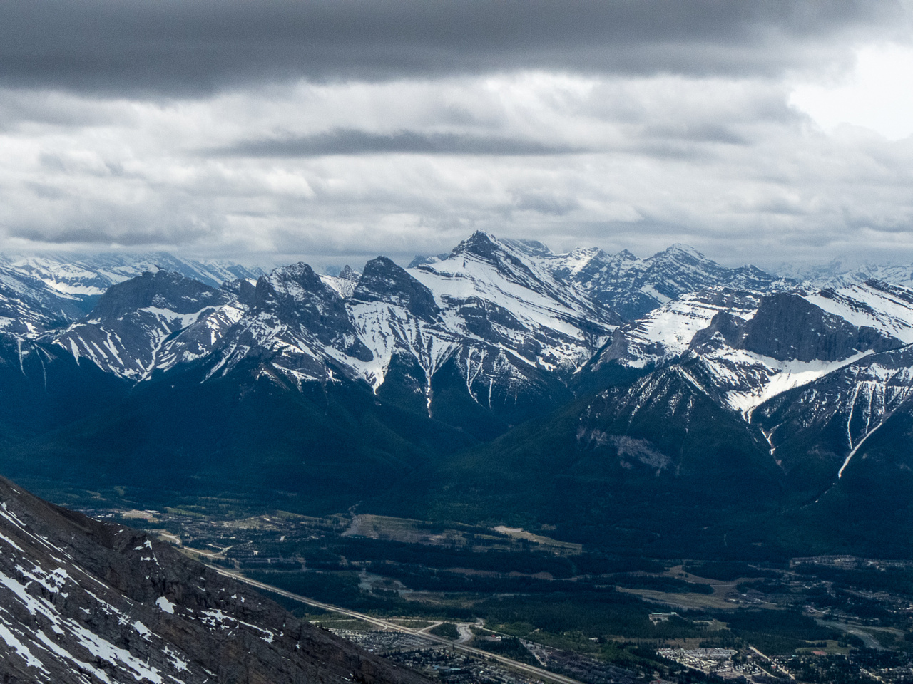 The Three Sisters towering over Canmore.
