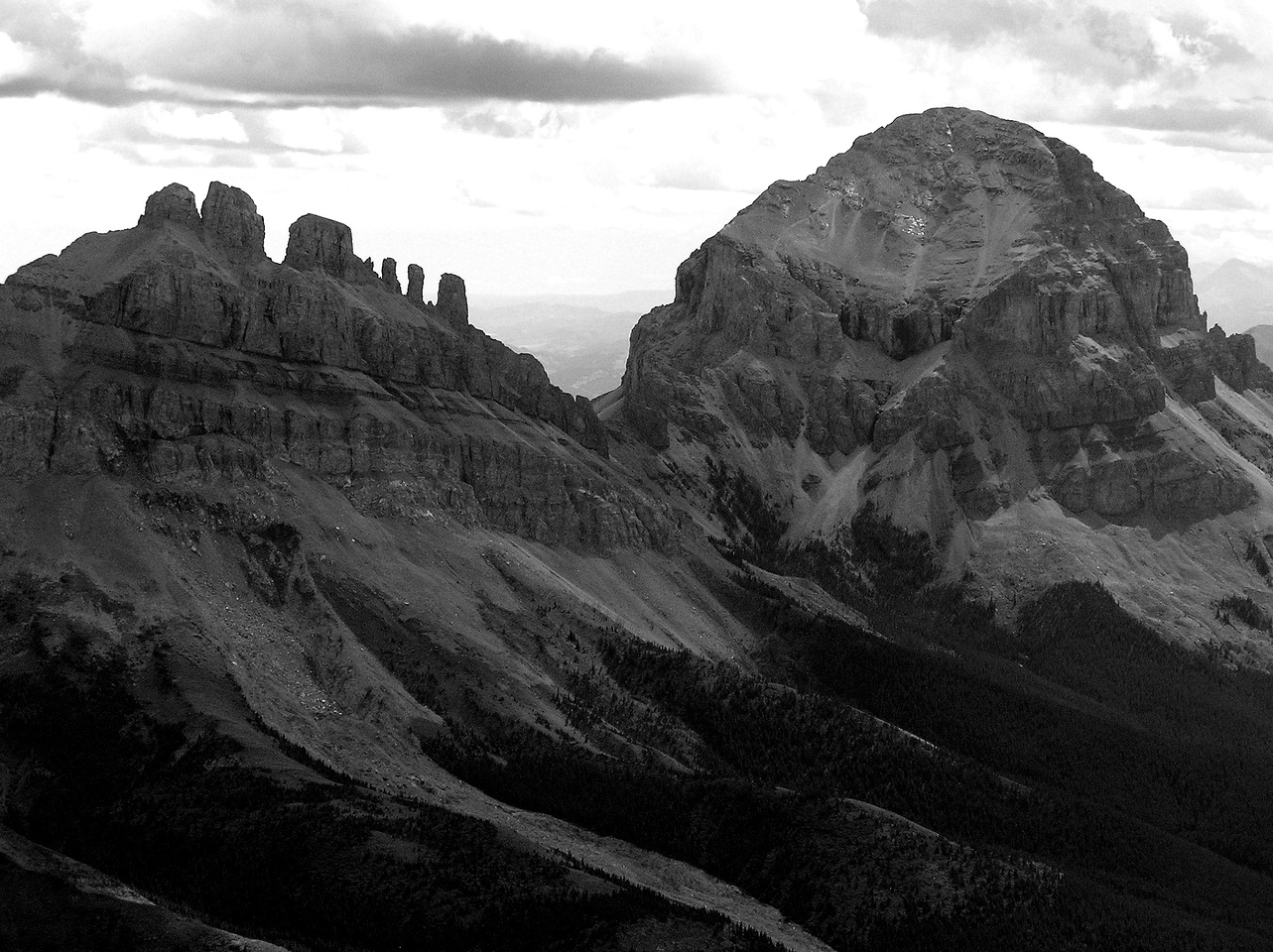 Seven Sisters and Crowsnest Mountain.