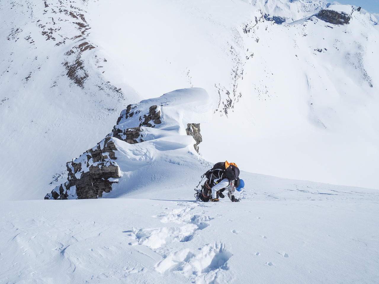 Steep snow climbing from the summit.
