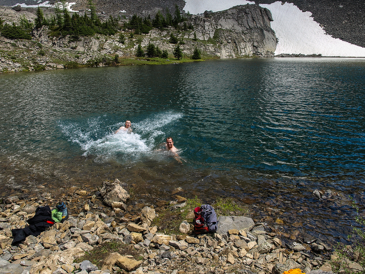 Delightful swim in a COLD tarn on the way back.