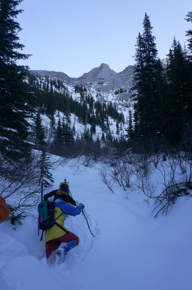 We are trying to get to the end of this gully where we will turn climbers right up the scree gully.