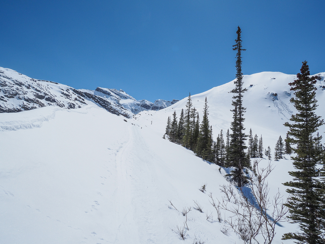 Looking back at the descent of the moraine - ski tracks at center right.