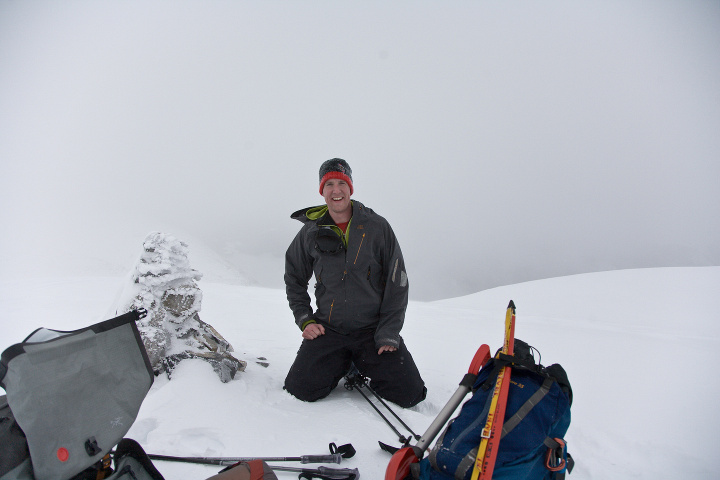 Vern at the summit of Paget Peak. In a whiteout! ;-)