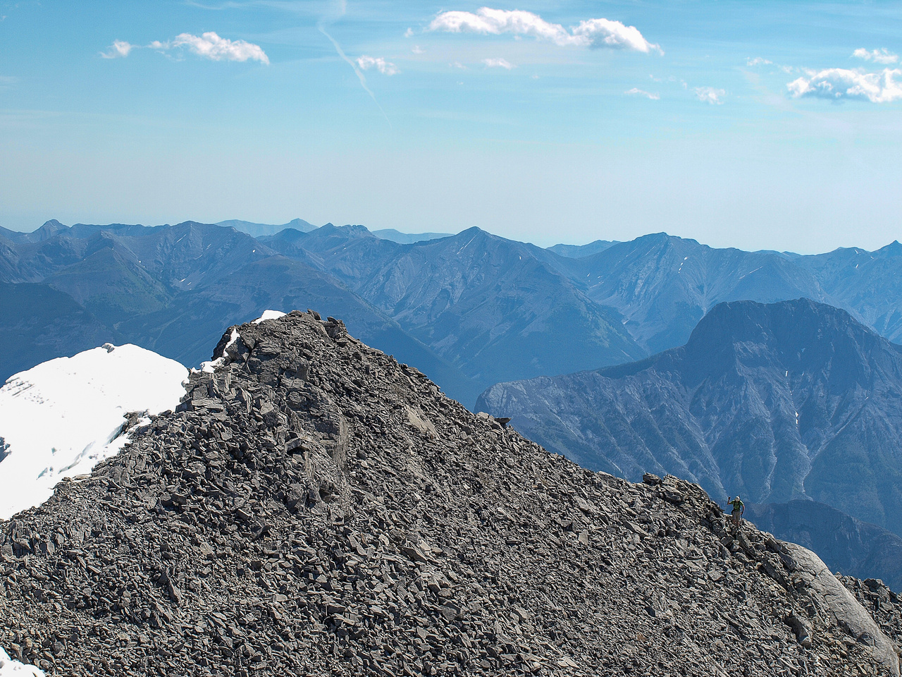 A wider shot of JW on the summit ridge.