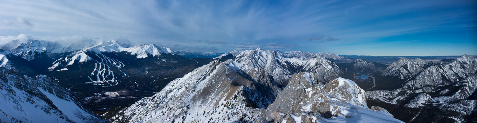 Looking west and north (R) includes Kidd, Ribbon, Sparrowhawk, Allan, Wasootch, Lorette, Barrier Lake, Baldy.