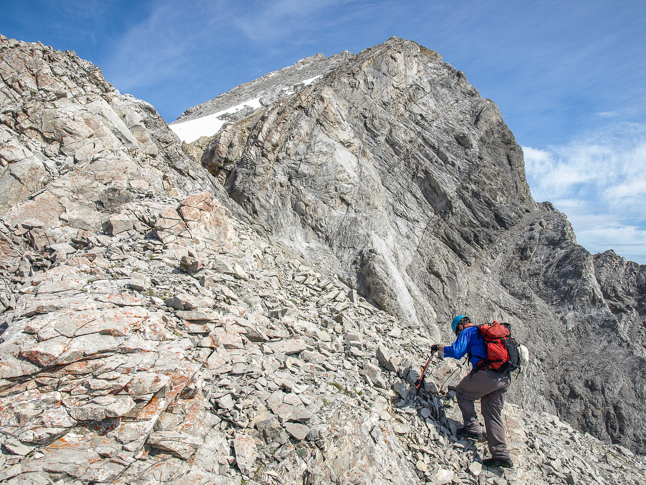 There is still lots of scree but also plenty of exposure up ahead to keep us occupied.