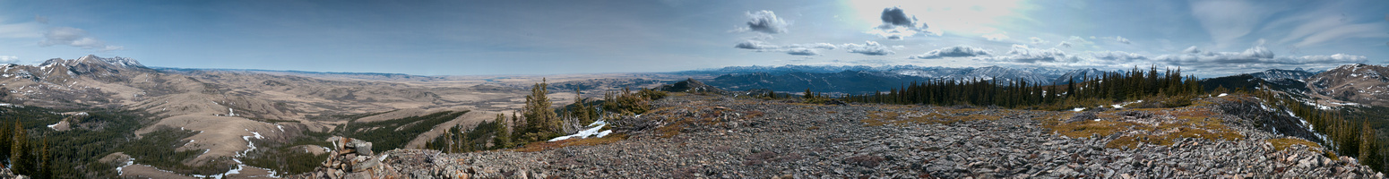 Panorama from the Livingstone Range at left to Crowsnest Mountain at right.