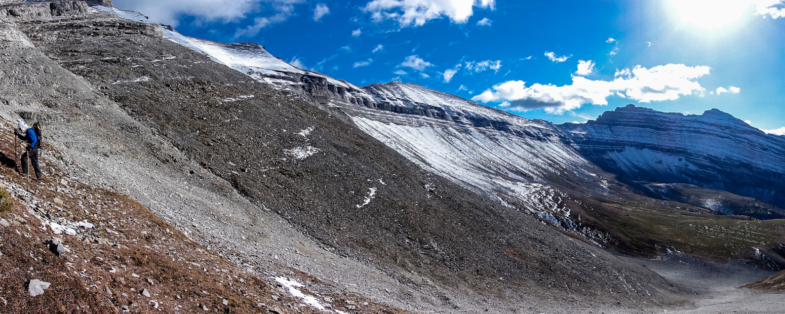 It's a beautiful alpine bowl underneath the summits of Girouard and west of Peechee (on the right).